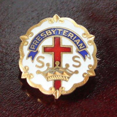 画像1: USAヴィンテージピンバッジ白10KGF キリスト教聖品PRESBYTERIAN教会日曜学校メンバーブローチ