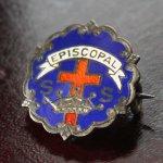 画像1: USAヴィンテージピンバッジ青|キリスト教聖品EPISCOPAL教会日曜学校メンバーブローチ (1)