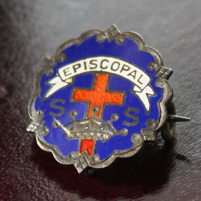 画像1: USAヴィンテージピンバッジ青|キリスト教聖品EPISCOPAL教会日曜学校メンバーブローチ