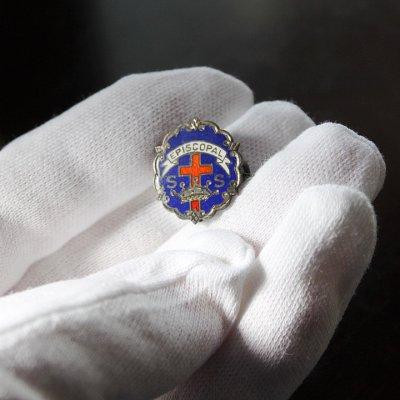 画像3: USAヴィンテージピンバッジ青|キリスト教聖品EPISCOPAL教会日曜学校メンバーブローチ