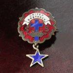 画像1: USAヴィンテージピンバッジ赤・星付|キリスト教聖品UNITED BRETHREN教会日曜学校メンバーブローチ (1)