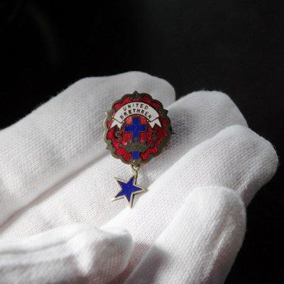 画像3: USAヴィンテージピンバッジ赤・星付|キリスト教聖品UNITED BRETHREN教会日曜学校メンバーブローチ