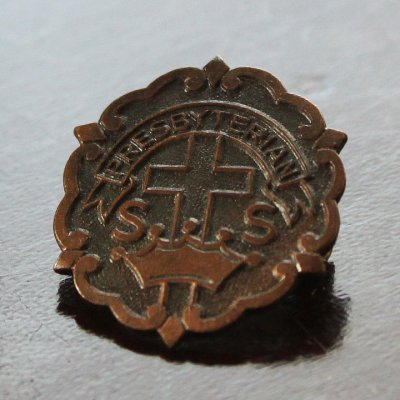 画像1: USAヴィンテージピンバッジ銅|キリスト教聖品PRESBYTERIAN教会日曜学校メンバーブローチ