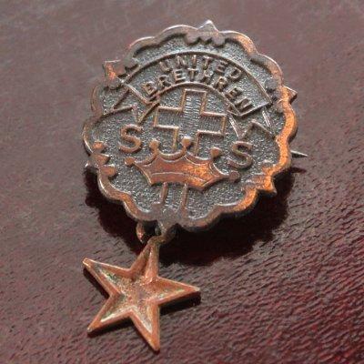 画像1: USAヴィンテージピンバッジ銅・星付|キリスト教聖品UNITED BRETHREN教会日曜学校メンバーブローチ