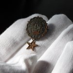 画像2: USAヴィンテージピンバッジ銅・星付|キリスト教聖品UNITED BRETHREN教会日曜学校メンバーブローチ (2)