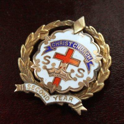 画像1: USAヴィンテージピンバッジ白10KGF|キリスト教聖品CHRIST CHURCH教会日曜学校メンバーブローチ