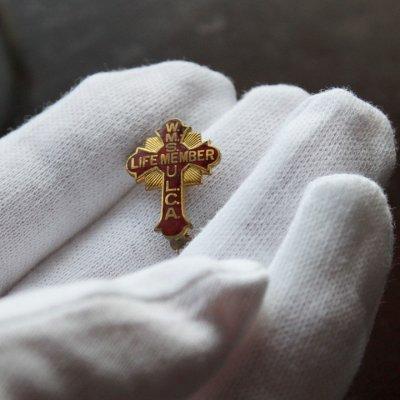 画像3: USAヴィンテージ1930s十字架ピンバッジ赤 キリスト教聖品W.M.S. U.L.C.A.終身会員ブローチ