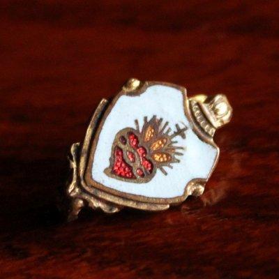 画像1: USAヴィンテージ聖心ピンバッジ|キリスト教聖品sacred heart of JesusカトリックブローチA
