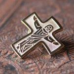 画像2: USAヴィンテージピンバッジ十字架磔刑イエスキリスト像ブローチ|アンティーク雑貨聖品 (2)