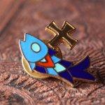 画像1: USAヴィンテージピンバッジ|十字架と魚イクトゥスクリスチャンフィッシュブローチピンズ聖品 (1)