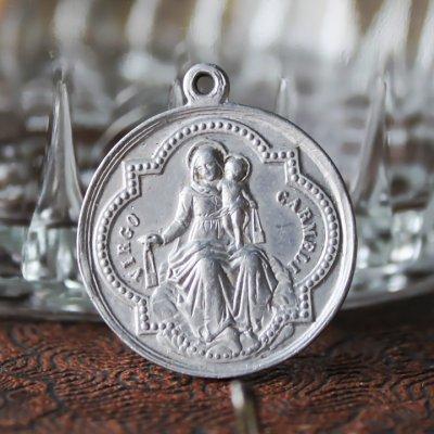 画像2: フランスヴィンテージメダイ|イエスの聖心御心とカルメル山の聖母カトリック聖品アンティークメダイ