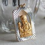 画像1: イタリアヴィンテージメダイ|聖バルバラギリシャ・東方正教会聖品アンティークメダイ(ゴールド) (1)