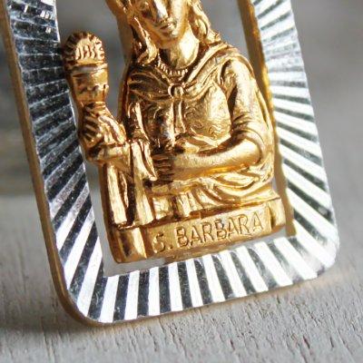 画像3: イタリアヴィンテージメダイ|聖バルバラギリシャ・東方正教会聖品アンティークメダイ(ゴールド)