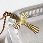 画像2: アメリカヴィンテージ真鍮製クロス十字架ペンダントネックレス|アンティーク雑貨ブラスジュエリーネックレス (2)