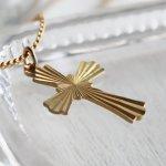 画像3: アメリカヴィンテージ真鍮製クロス十字架ペンダントネックレス|アンティーク雑貨ブラスジュエリーネックレス (3)