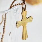 画像5: アメリカヴィンテージ真鍮製クロス十字架ペンダントネックレス|アンティーク雑貨ブラスジュエリーネックレス (5)