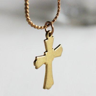画像2: アメリカヴィンテージ真鍮製クロス十字架ペンダントネックレス|アンティーク雑貨ブラスジュエリーネックレス