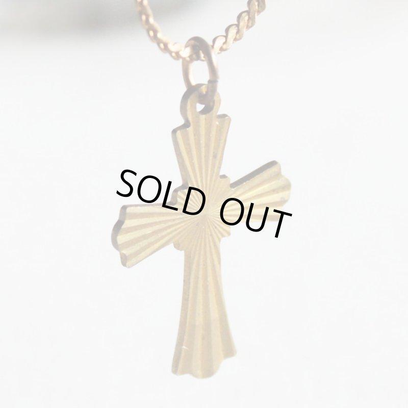 画像1: アメリカヴィンテージ真鍮製クロス十字架ペンダントネックレス|アンティーク雑貨ブラスジュエリーネックレス (1)