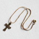 画像8: アメリカヴィンテージ真鍮製クロス十字架ペンダントネックレス|アンティーク雑貨ブラスジュエリーネックレス (8)