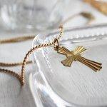 画像9: アメリカヴィンテージ真鍮製クロス十字架ペンダントネックレス|アンティーク雑貨ブラスジュエリーネックレス (9)