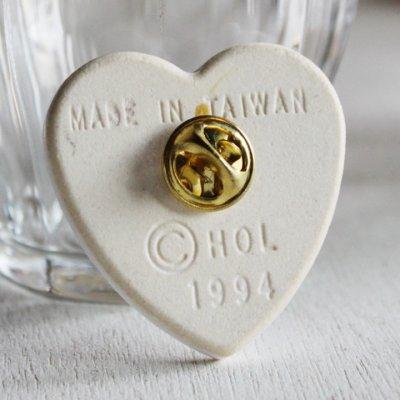 画像3: USAヴィンテージイエスキリストのハートクリスチャン陶器製ピンバッジJesus is the heart of the seasonブローチ