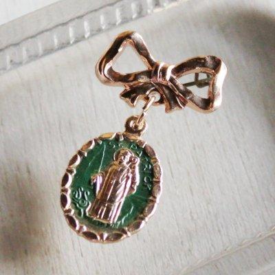 画像1: イタリアヴィンテージ聖パトリックのメダイ付きブローチ カトリック聖人ピンズ・クリスチャンピンバッジ