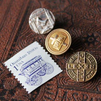 画像3: アメリカヴィンテージキリスト教指導者・光・王・法律の十字架ピンバッジ|アンティークブローチDUX LUX REX LEX Cross Pins