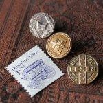 画像4: アメリカヴィンテージキリスト教派LWML聖書と十字架の金メッキピンバッジ|バイブル&クロスアンティークブローチ (4)