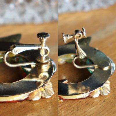 画像3: ヴィンテージコスチュームジュエリーイヤリング赤緑宝石ラインストーン|アンティークジュエリー