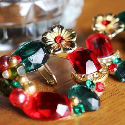 画像2: ヴィンテージコスチュームジュエリーイヤリング赤緑宝石ラインストーン|アンティークジュエリー