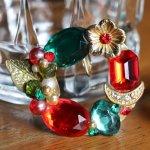 画像4: ヴィンテージコスチュームジュエリーイヤリング赤緑宝石ラインストーン|アンティークジュエリー (4)
