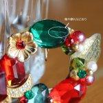 画像9: ヴィンテージコスチュームジュエリーイヤリング赤緑宝石ラインストーン|アンティークジュエリー (9)