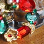 画像6: ヴィンテージコスチュームジュエリーイヤリング赤緑宝石ラインストーン|アンティークジュエリー (6)