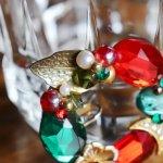 画像7: ヴィンテージコスチュームジュエリーイヤリング赤緑宝石ラインストーン|アンティークジュエリー (7)