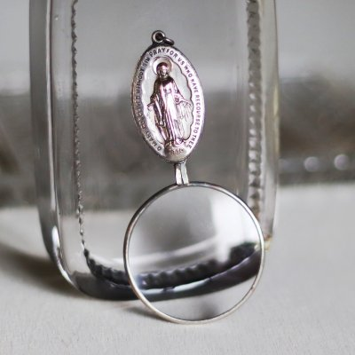 画像1: ヴィンテージルーペ付き不思議のメダイ無原罪の聖母マリア|アンティークメダイキリスト教カトリック聖品蛇を踏むマリア