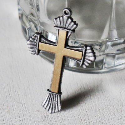 画像1: USAヴィンテージクロス十字架ペンダントチャームピューター&真鍮|アンティーククリスチャンカトリック聖品