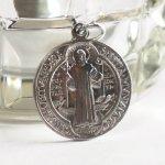 イタリアヴィンテージ聖ベネディクトのアルミメダイ|悪魔祓いお守りベネディクトゥス聖人カトリック