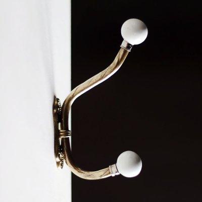 画像1: USAヴィンテージ真鍮&陶器製コートフック|アンティーク建具金物壁掛ウォールダブルフック