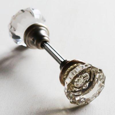 画像1: アンティークガラス製ドアノブB|USAヴィンテージ硝子ノブ真鍮座金ドアハンドル取手