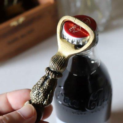 画像2: USAヴィンテージブラスボトルオープナー真鍮製栓抜き・フクロウ梟|アンティークキッチン雑貨・賢者幸福