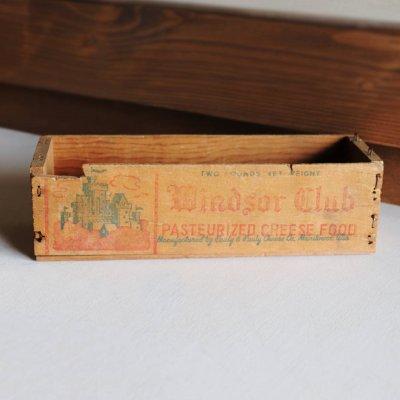 画像1: USAヴィンテージ木製チーズボックスWindsor Club|アンティークキッチン雑貨Cheese wood box