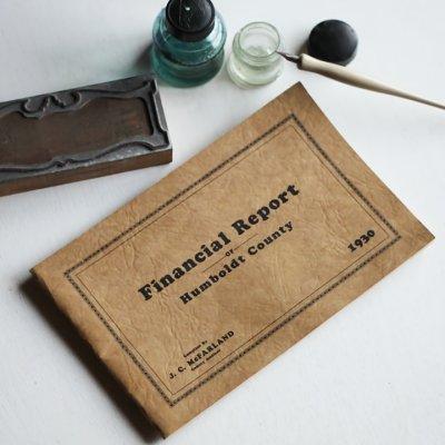 画像1: USAヴィンテージ紙もの財務報告書ブックレット1930年|financial report humboldt county