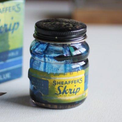 画像1: USAヴィンテージガラスインクボトル2oz|sheaffer skrip ink bottleガラス瓶RC-35