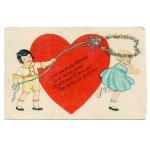 画像2: USAヴィンテージ1929年紙ものバレンタイングリーティングカード|ハート・男の子・女の子 (2)
