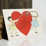 画像6: USAヴィンテージ1929年紙ものバレンタイングリーティングカード|ハート・男の子・女の子 (6)