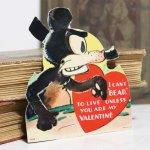 画像2: USAヴィンテージ1936年紙ものバレンタイングリーティングカード|ハート・ねずみ・くま (2)
