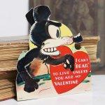 画像6: USAヴィンテージ1936年紙ものバレンタイングリーティングカード|ハート・ねずみ・くま (6)