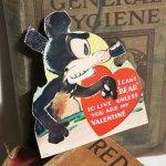 画像7: USAヴィンテージ1936年紙ものバレンタイングリーティングカード|ハート・ねずみ・くま (7)