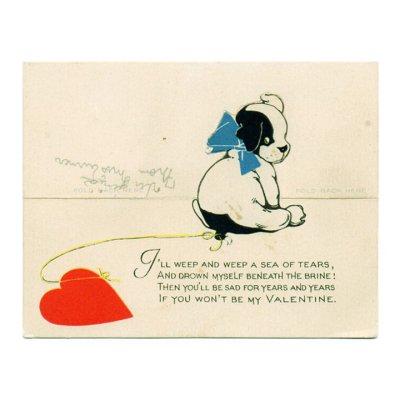 画像2: USAヴィンテージ1923年紙ものバレンタインデーグリーティングカード|子犬とハート・アンティーク紙もの