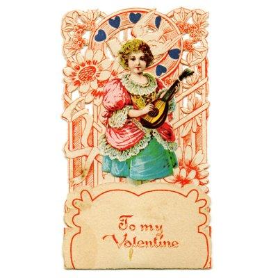 画像1: USAヴィンテージ1930年代紙ものバレンタインデーグリーティングカード|To my Valentine天使・男の子アンティーク